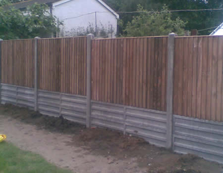 Fence with concrete kick boards Hampshire