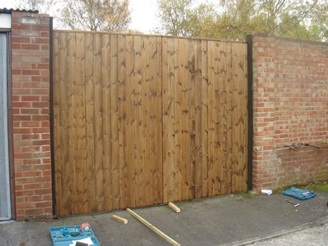Lareg wooden gate in Hampshire